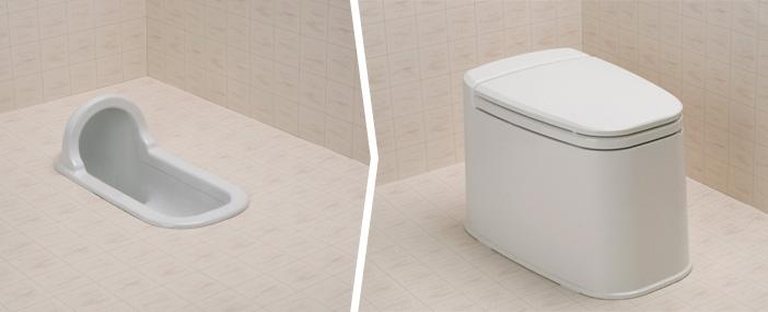 リフォームトイレ和風式 和式を洋式にする便器