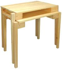 ひのきのテーブル(机・つくえ) 積み重ねができます。