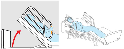 介護ベッド 2モーターベッド 和夢 雅 背/脚連動モーションタイはボトムサイドレール一体型で万が一の事故を防ぎます