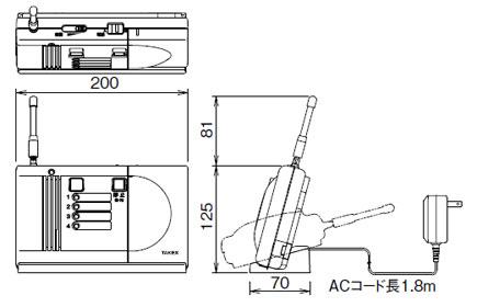 卓上型受信機のサイズ