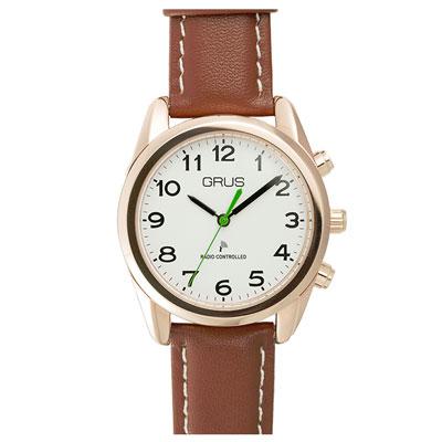 GRUS(グルス) 音声時計 ボイス電波腕時計 アナログボイスウォッチ