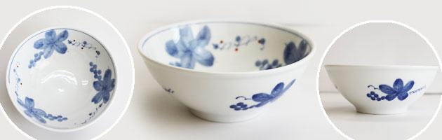 美濃美人 おかるのキモチ 藍染草花 食器4点セット 軽量強化磁器