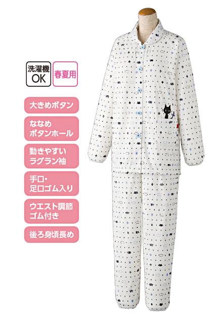婦人大きめボタン天竺パジャマ 猫柄 特長