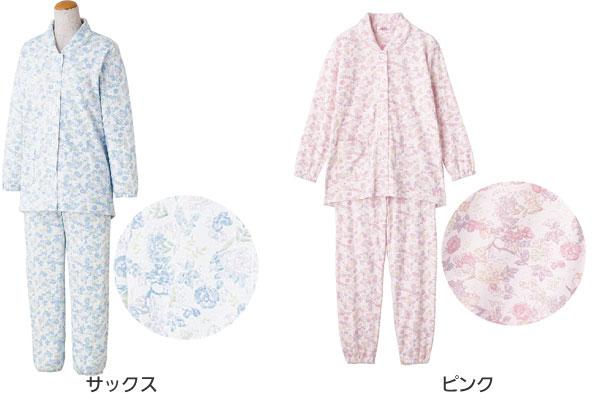 婦人 ボタンの留め外しが楽な大きめボタンパジャマ 綿100% M・Lサイズ 89776 のカラー