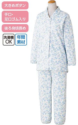 婦人 ボタンの留め外しが楽な大きめボタンパジャマ 綿100% M・Lサイズ 89776 の説明