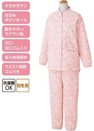 婦人 ボタンの留め外しが楽な大きめボタンキルトパジャマ 秋冬 S〜LLサイズ 89777 の説明