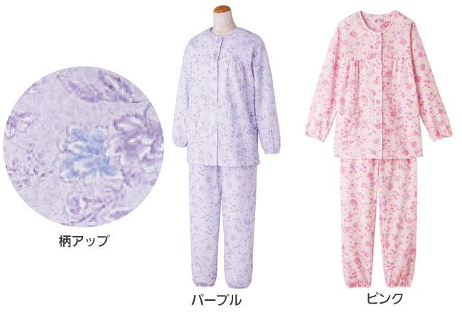 婦人 ボタンの留め外しが楽な大きめボタンキルトパジャマ 秋冬 S〜LLサイズ 89779 のカラー