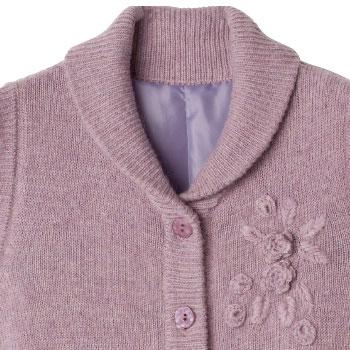 婦人 アンゴラ混ニット裏付花刺繍ベスト 大きめボタン・名札付き 89176