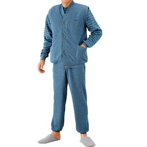紳士パジャマ 中わたベスト付きパジャマ2色セット