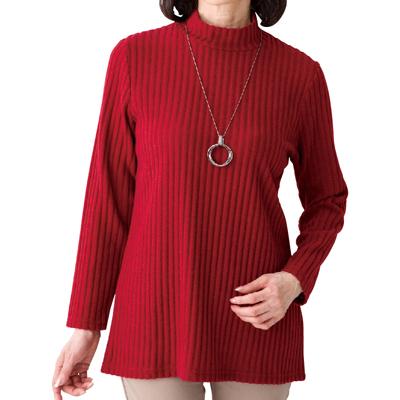 起毛リブ編みハイネックTシャツ 秋冬婦人用 選べるカラー2枚セット A0389113