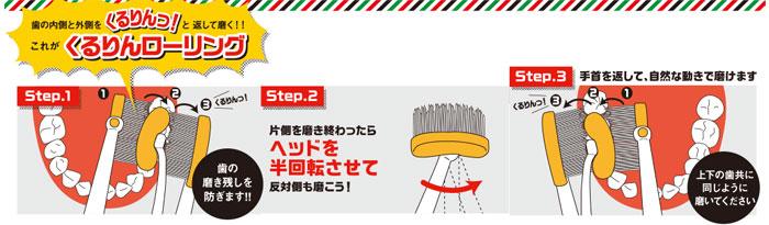 魔法ミガキ くるりん 歯ブラシ10本組の説明