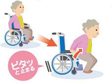 自動安全ブレーキユニットにげない君 タヒラモデル自走用車椅子 T-1-400-Sシルバーカーと介助車の2WAYタイプの説明