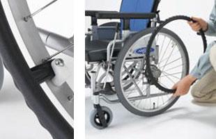 足こぎ対応低床車椅子 キックルKICKLLE 駐車ブレーキ左操作用の説明