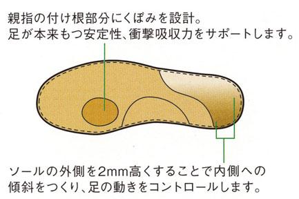 親指の付け根のくぼみで衝撃吸収力をサポート、内側への傾斜で足の動きをコントロールします