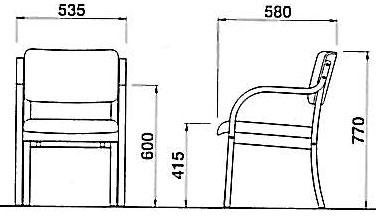 福祉施設用 木製肘付きチェア ブラウン色 OL-730Pの寸法図