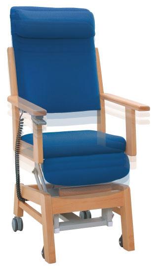 は、簡単なスイッチ動作で座面シートが昇降し、椅子かの説明