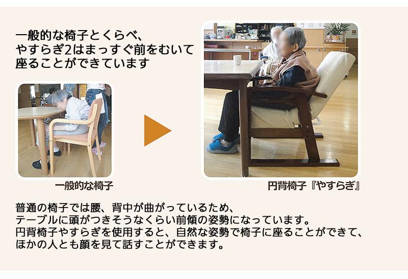 円背椅子 やすらぎ2を使うと、まっすぐ前を向いて座ることができます