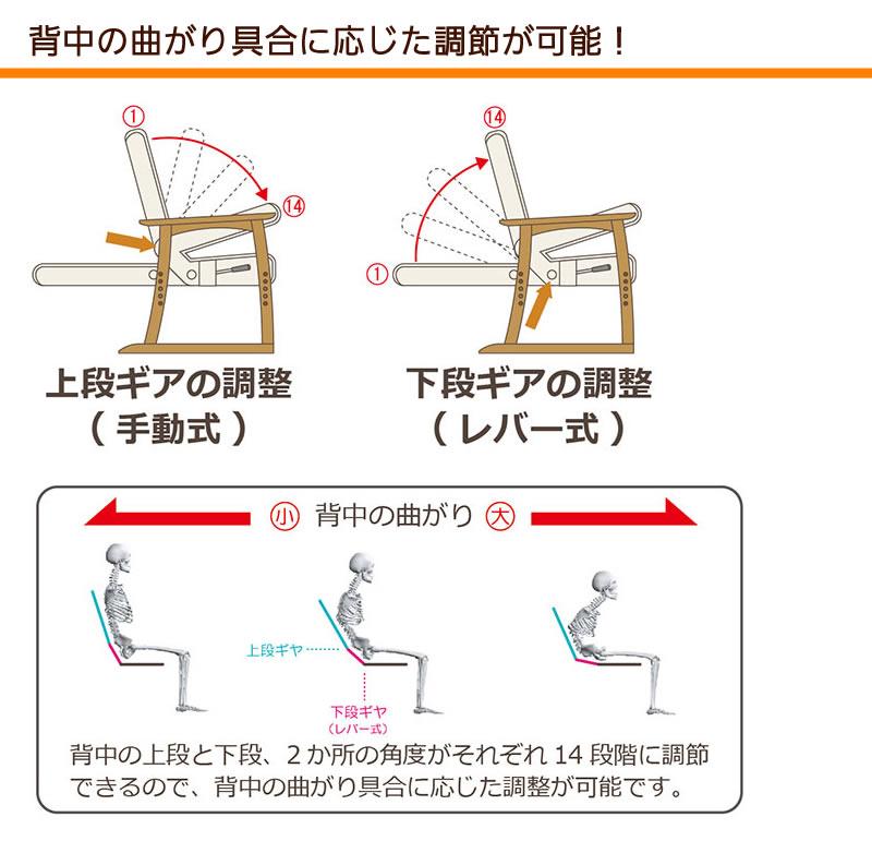 背中の曲がり具合に応じた調節が可能