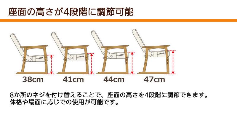 座面の高さを4段階に調節可能
