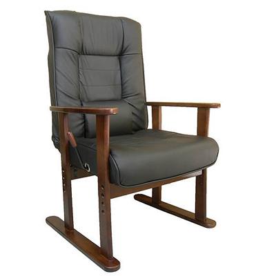 ガス圧式木肘高座椅子 由良 無段階リクライニング