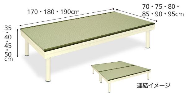 訓練台 トレーニングベッド 畳プラットホームTB-811 のサイズ