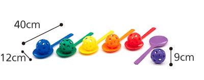 スプーンリレー 6色1組 介護レクリエーションのサイズ